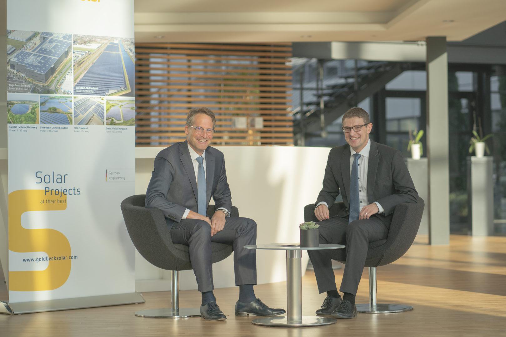 Die Geschäftsführer von Goldbeck Solar Joachim Goldbeck und Tobias Schüßler