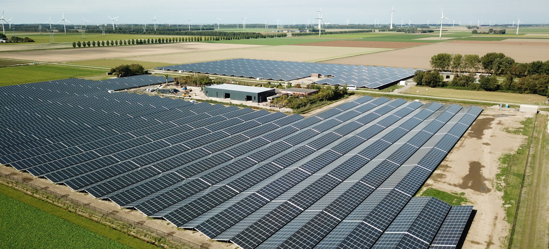 Luftaufnahme des Solarparks in Lelystad, Niederlanden