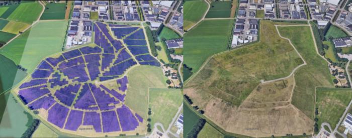 Planungsbild per Luftaufnahme des Solarparks Bavelse Berg