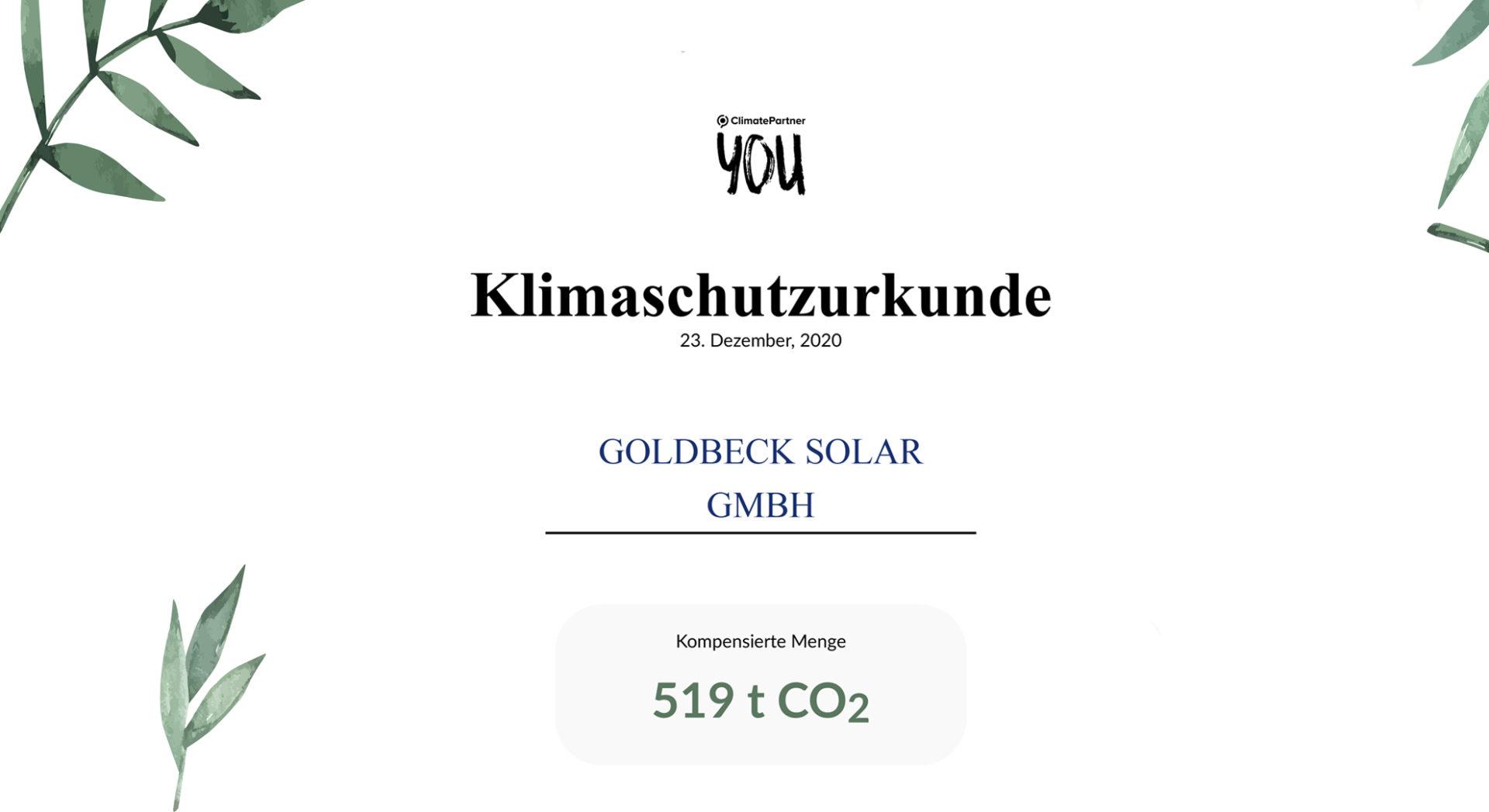 Ausschnitt der Klimaschutzurkunde der ClimatePartner Foundation gGmbH