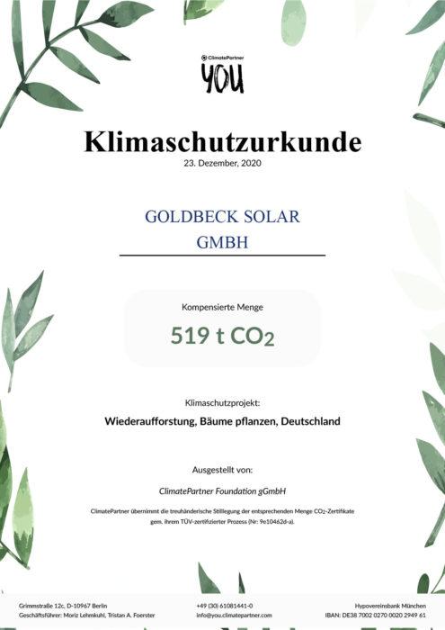Klimaschutzurkunde der ClimatePartner Foundation gGmbH