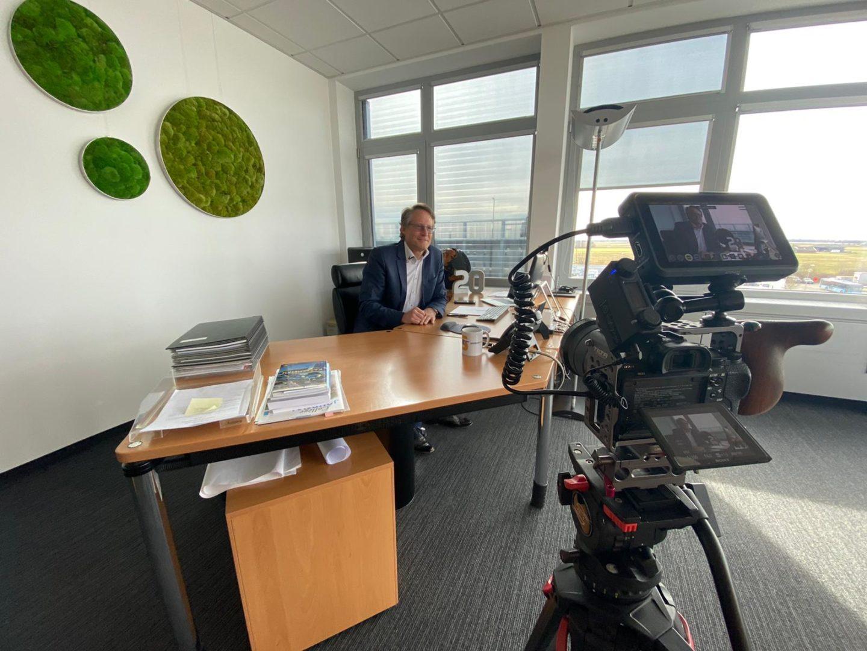 Videodreh mit Joachim Goldbeck zur Erweiterung Gewerbegebiet Hirschberg Süd.