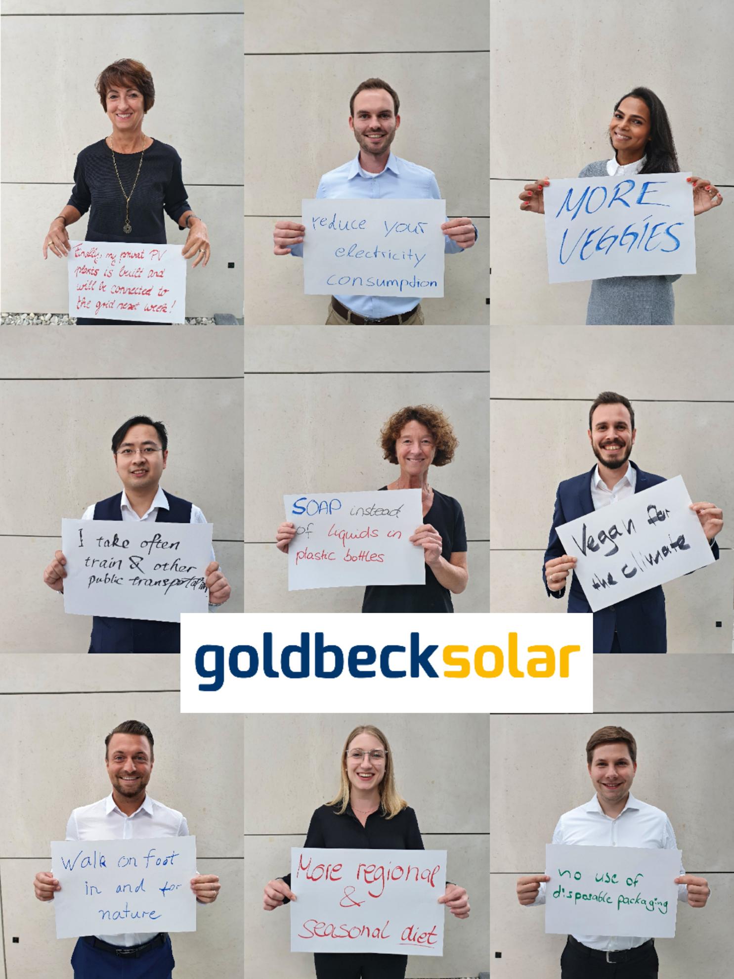 Mitarbeiter von Goldbeck Solar positionieren sich zur Nachhaltigkeit