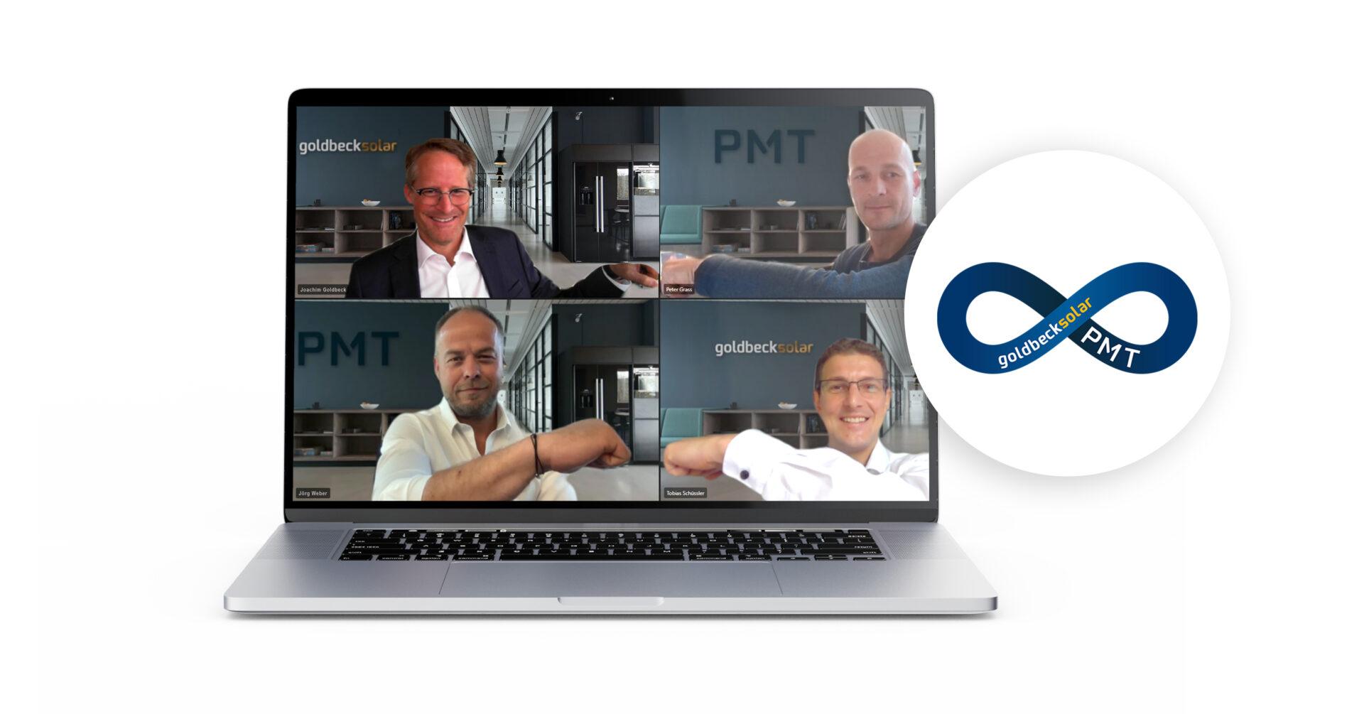 GOLDBECK SOLAR und PMT arbeiten künftig enger zusammen. Das Foto zeigt die Geschäftsführer beider Unternehmen beim virtuellen Handshake.