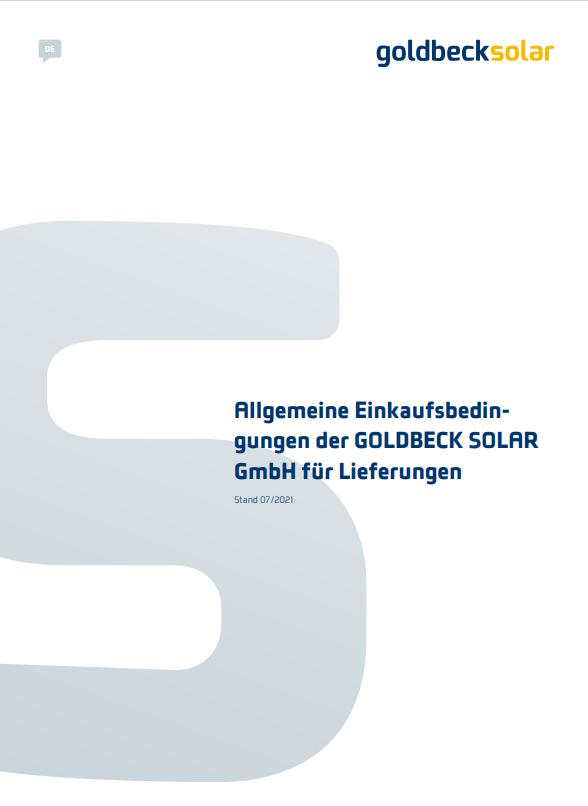 Allgemeine Einkaufsbedingungen der GOLDBECK SOLAR GmbH für Lieferungen