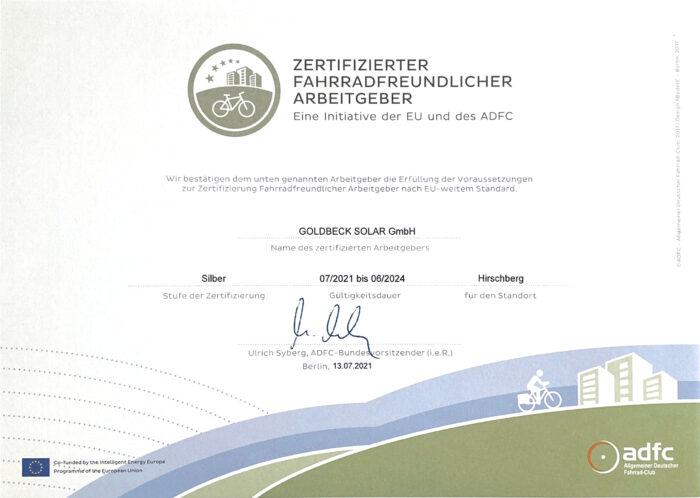 Zertifikat Fahrradfreundlicher Arbeitgeber ADFC